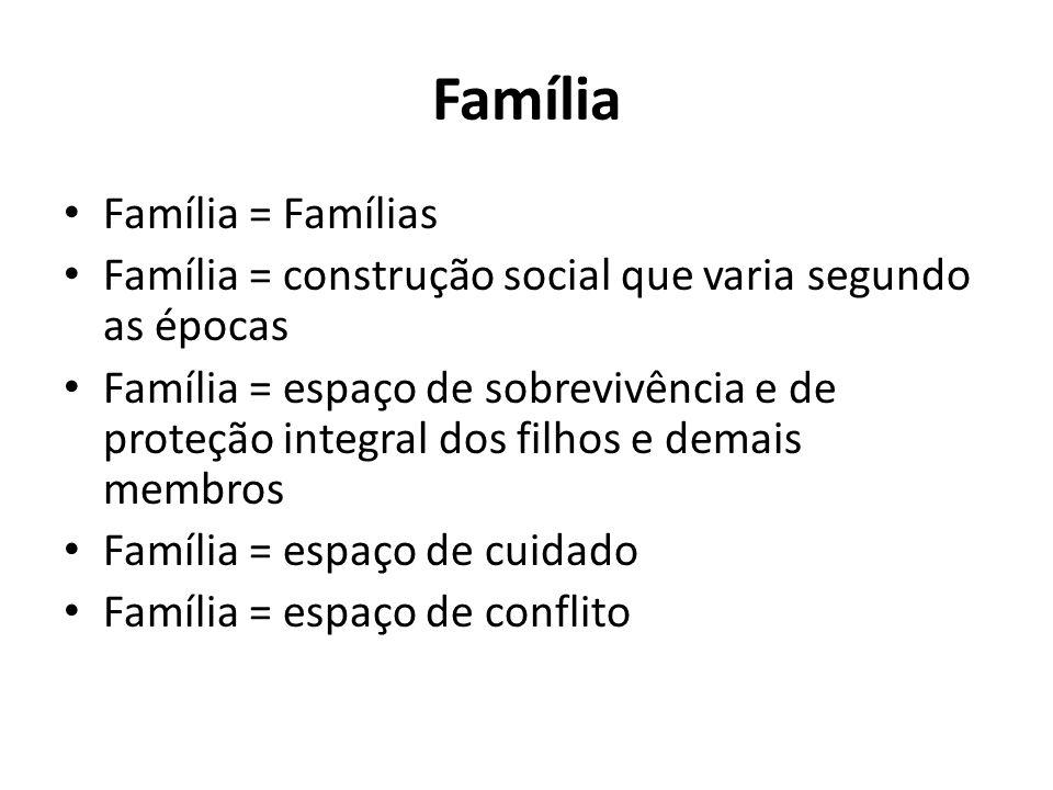 Família Família = Famílias Família = construção social que varia segundo as épocas Família = espaço de sobrevivência e de proteção integral dos filhos