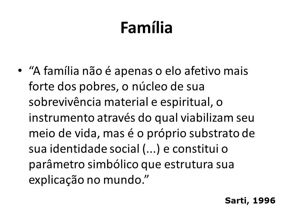 Família A família não é apenas o elo afetivo mais forte dos pobres, o núcleo de sua sobrevivência material e espiritual, o instrumento através do qual