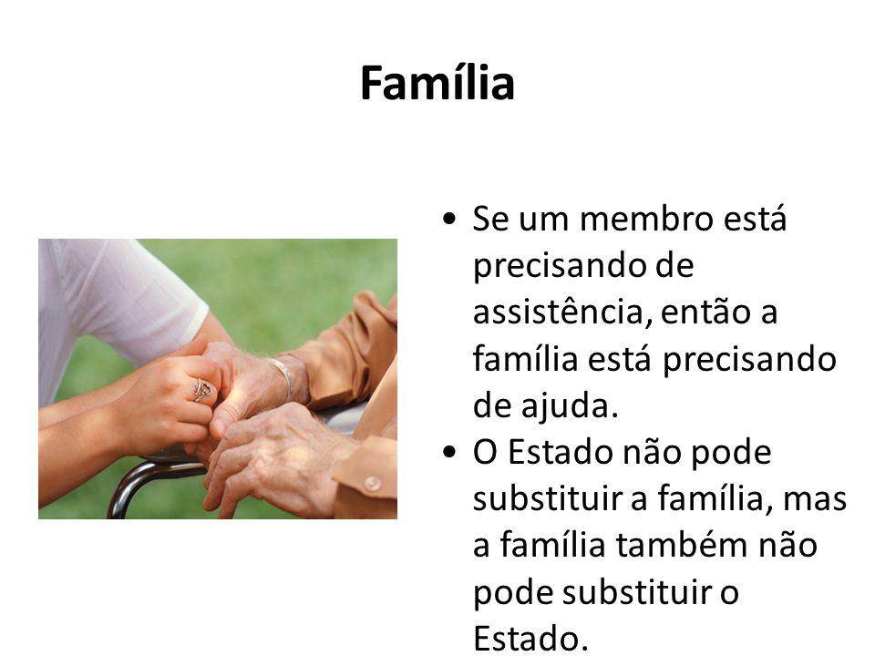 Família Se um membro está precisando de assistência, então a família está precisando de ajuda. O Estado não pode substituir a família, mas a família t