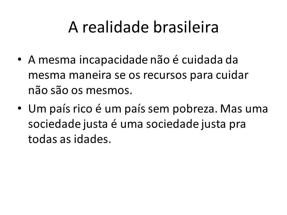 A realidade brasileira A mesma incapacidade não é cuidada da mesma maneira se os recursos para cuidar não são os mesmos. Um país rico é um país sem po