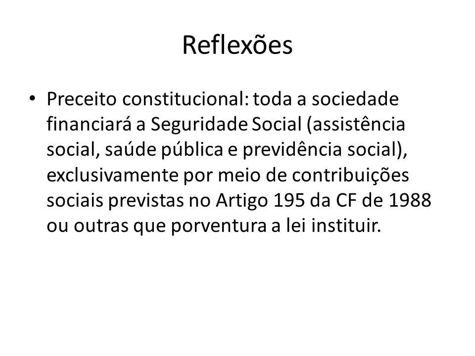 Reflexões Preceito constitucional: toda a sociedade financiará a Seguridade Social (assistência social, saúde pública e previdência social), exclusiva