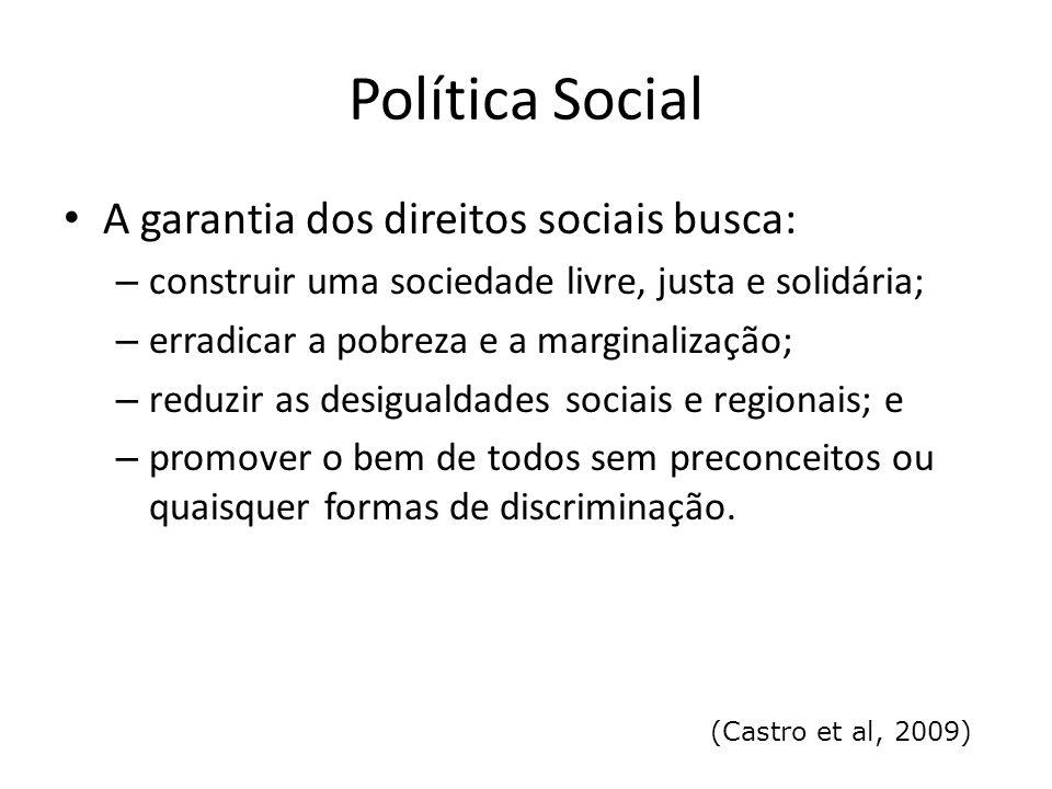 Política Social A garantia dos direitos sociais busca: – construir uma sociedade livre, justa e solidária; – erradicar a pobreza e a marginalização; –
