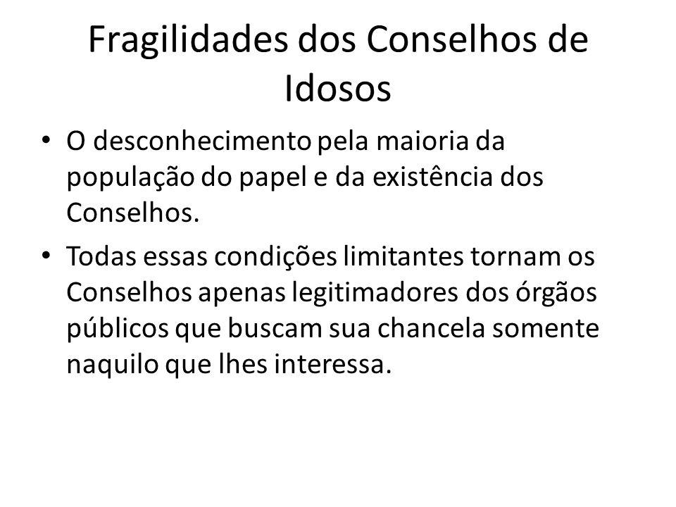 Fragilidades dos Conselhos de Idosos O desconhecimento pela maioria da população do papel e da existência dos Conselhos. Todas essas condições limitan