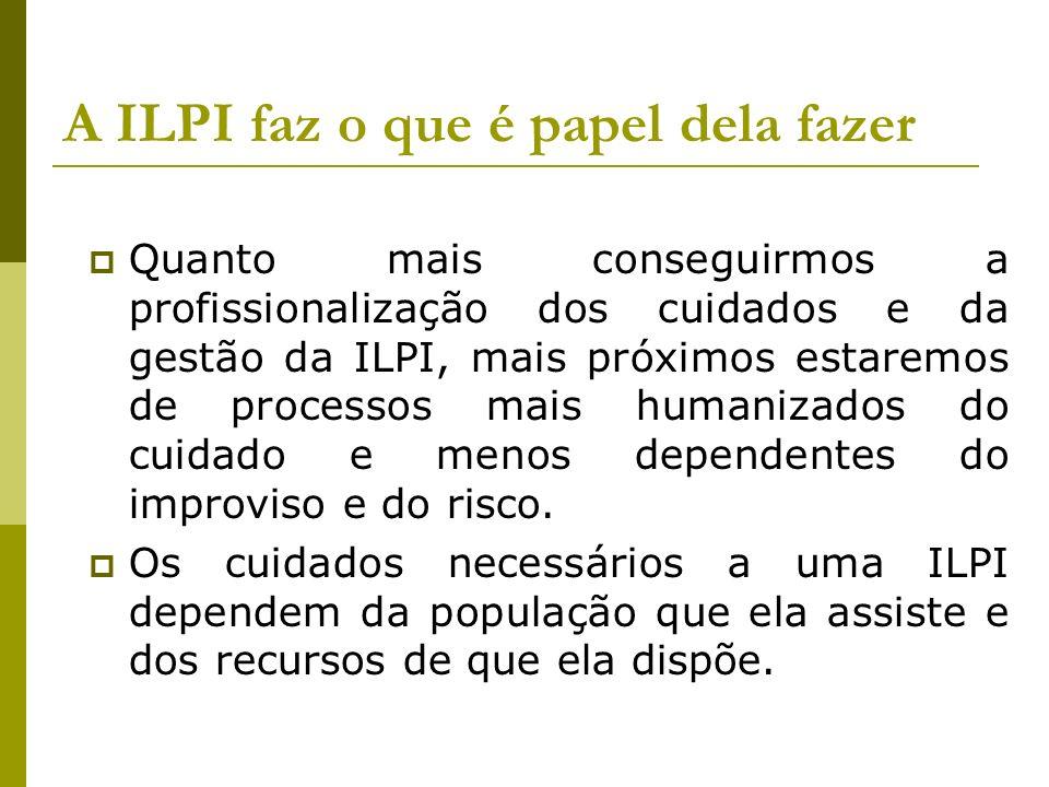A ILPI faz o que é papel dela fazer Quanto mais conseguirmos a profissionalização dos cuidados e da gestão da ILPI, mais próximos estaremos de process