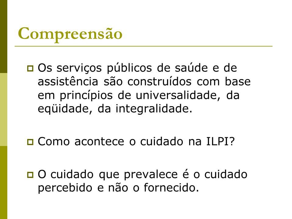 Compreensão Os serviços públicos de saúde e de assistência são construídos com base em princípios de universalidade, da eqüidade, da integralidade. Co