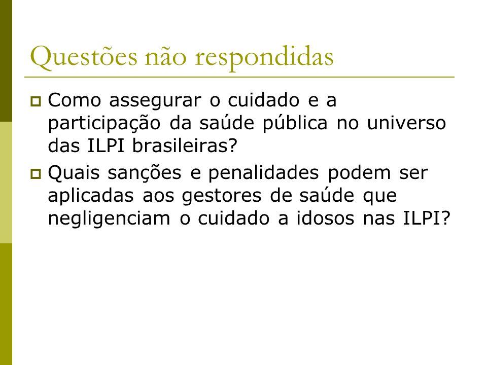 Como assegurar o cuidado e a participação da saúde pública no universo das ILPI brasileiras? Quais sanções e penalidades podem ser aplicadas aos gesto