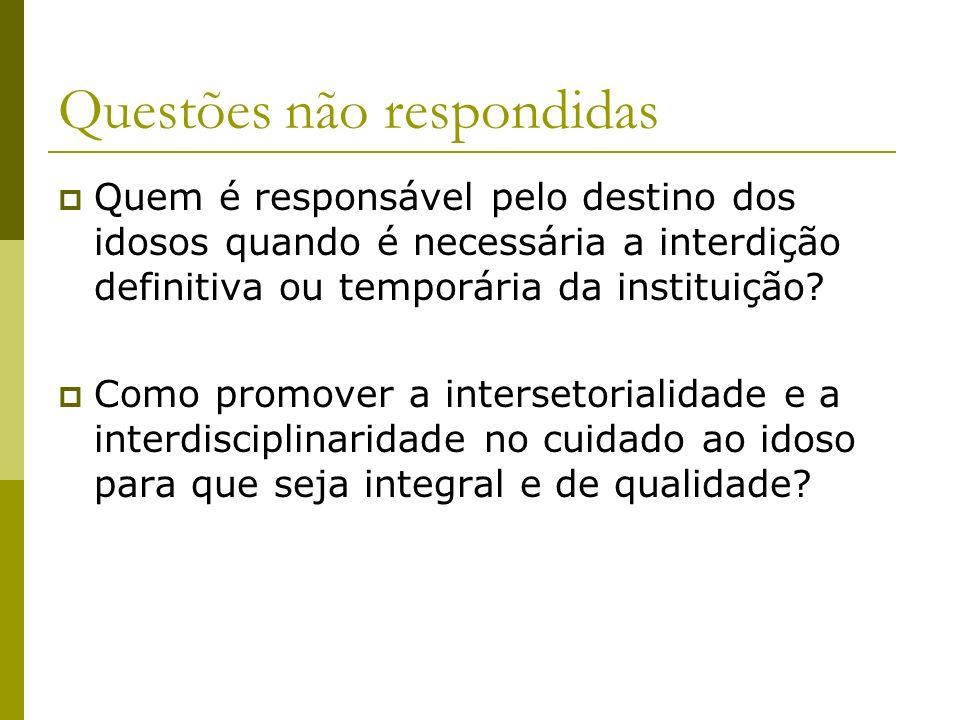 Quem é responsável pelo destino dos idosos quando é necessária a interdição definitiva ou temporária da instituição? Como promover a intersetorialidad