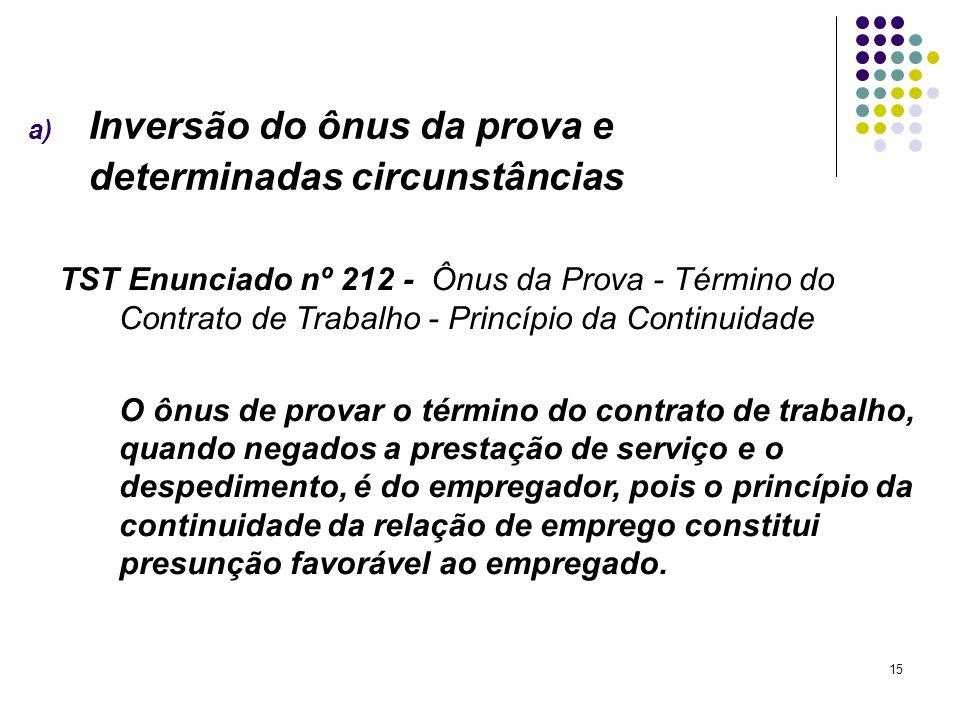 15 a) Inversão do ônus da prova e determinadas circunstâncias TST Enunciado nº 212 - Ônus da Prova - Término do Contrato de Trabalho - Princípio da Co