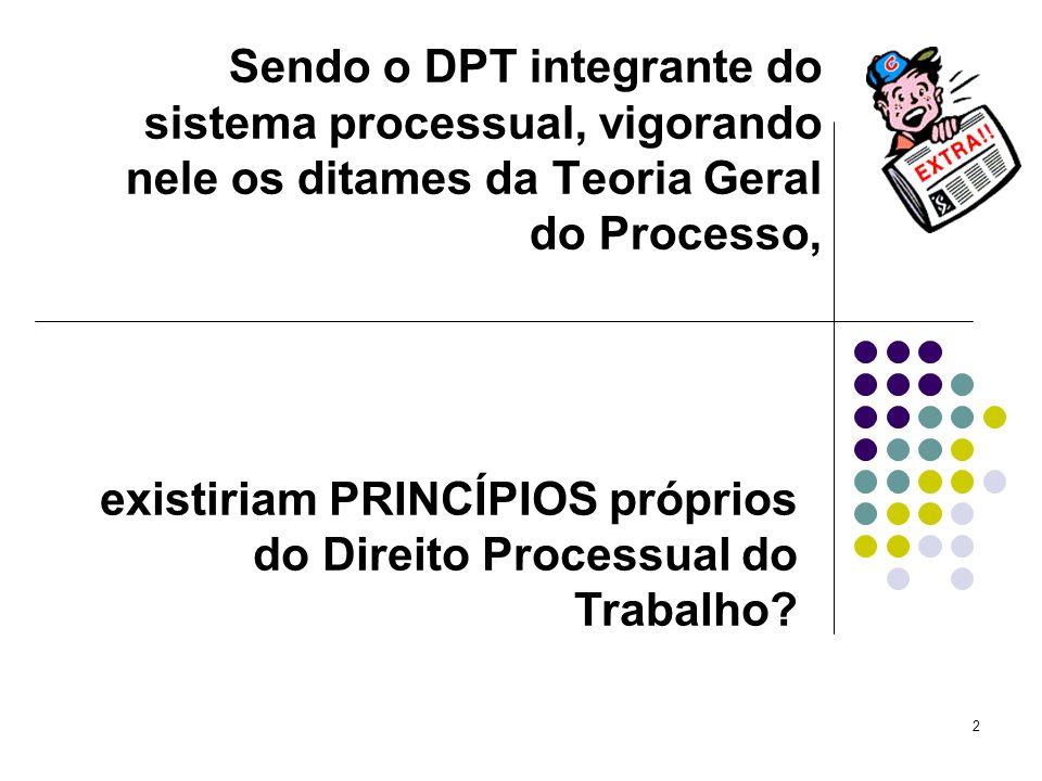 2 Sendo o DPT integrante do sistema processual, vigorando nele os ditames da Teoria Geral do Processo, existiriam PRINCÍPIOS próprios do Direito Proce