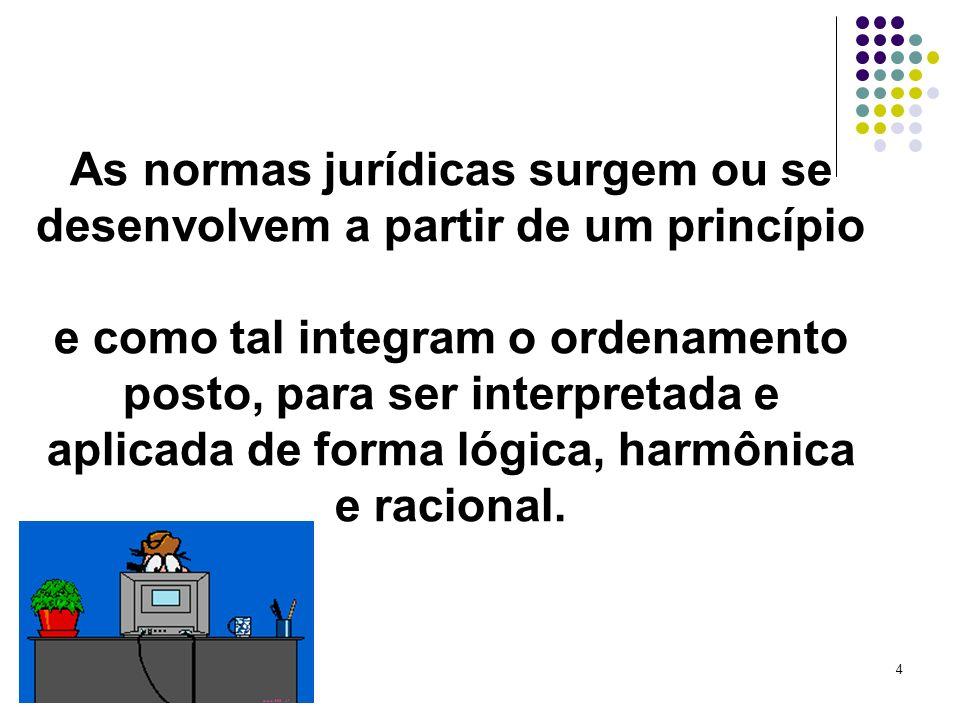 4 As normas jurídicas surgem ou se desenvolvem a partir de um princípio e como tal integram o ordenamento posto, para ser interpretada e aplicada de f