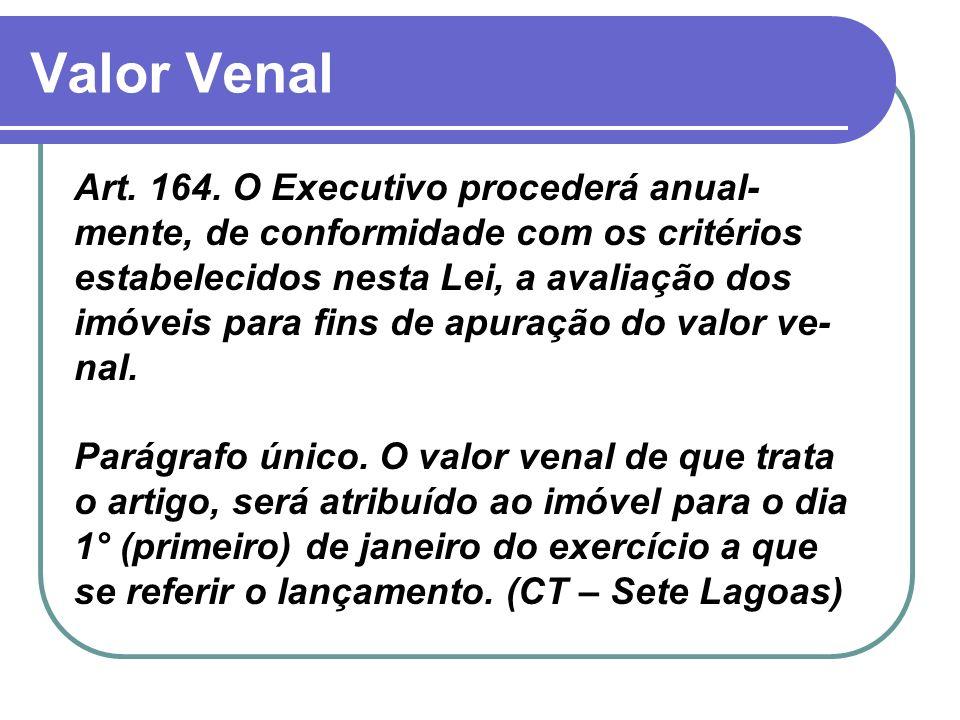 Valor Venal Art. 164. O Executivo procederá anual- mente, de conformidade com os critérios estabelecidos nesta Lei, a avaliação dos imóveis para fins