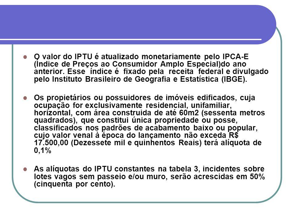 O valor do IPTU é atualizado monetariamente pelo IPCA-E (Índice de Preços ao Consumidor Amplo Especial)do ano anterior. Esse índice é fixado pela rece