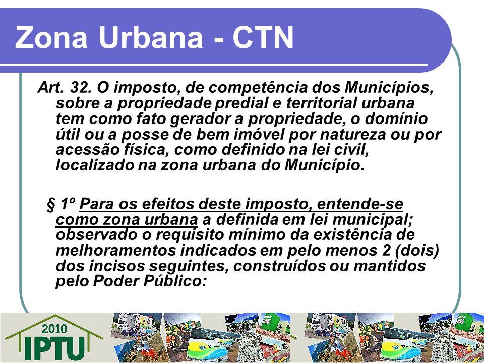 Zona Urbana - CTN Art. 32. O imposto, de competência dos Municípios, sobre a propriedade predial e territorial urbana tem como fato gerador a propried