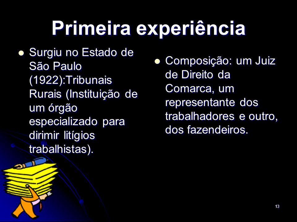 13 Primeira experiência Surgiu no Estado de São Paulo (1922):Tribunais Rurais (Instituição de um órgão especializado para dirimir litígios trabalhista