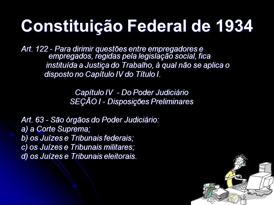 16 Constituição Federal de 1934 Art. 122 - Para dirimir questões entre empregadores e empregados, regidas pela legislação social, fica instituída a Ju
