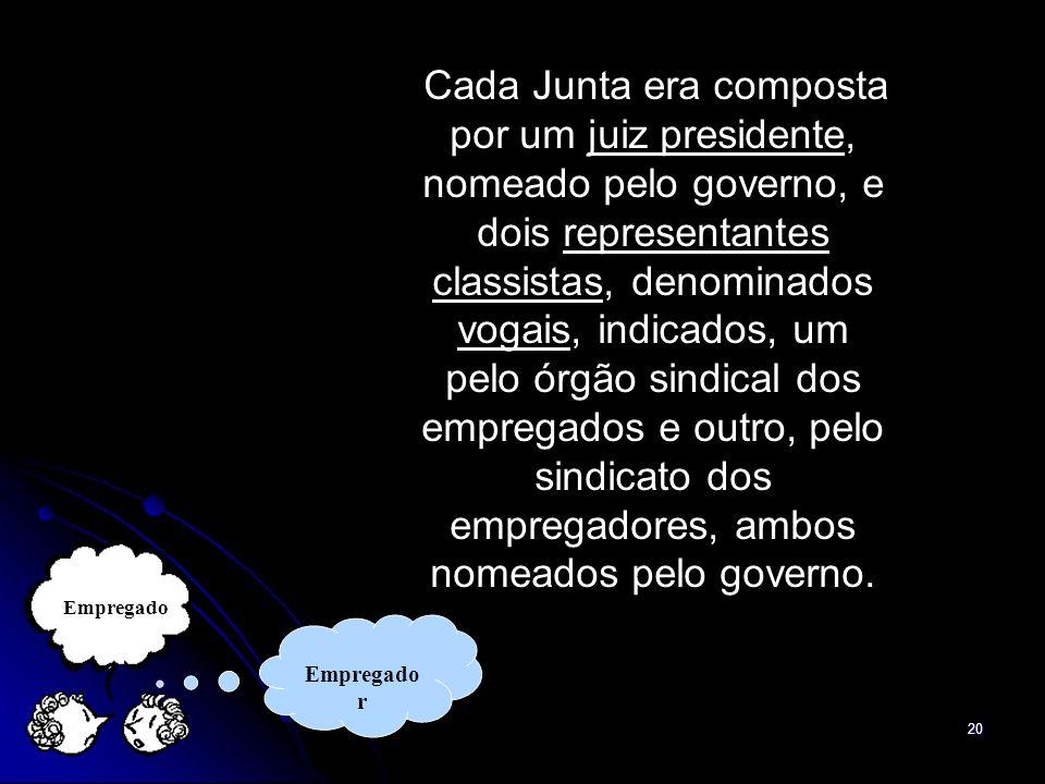 20 Cada Junta era composta por um juiz presidente, nomeado pelo governo, e dois representantes classistas, denominados vogais, indicados, um pelo órgã