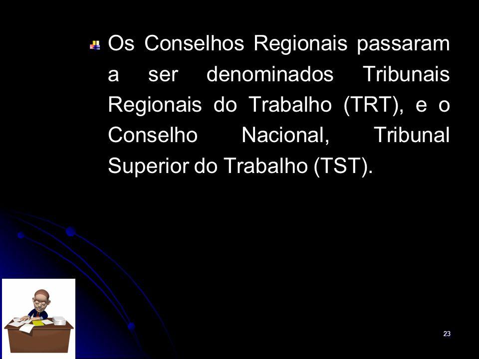 23 Os Conselhos Regionais passaram a ser denominados Tribunais Regionais do Trabalho (TRT), e o Conselho Nacional, Tribunal Superior do Trabalho (TST)