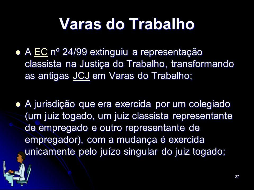 27 Varas do Trabalho A nº 24/99 extinguiu a representação classista na Justiça do Trabalho, transformando as antigas JCJ em Varas do Trabalho; A EC nº