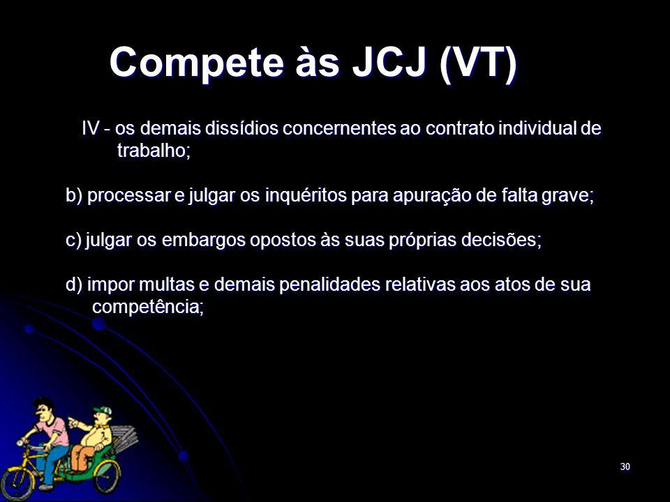 30 Compete às JCJ (VT) IV - os demais dissídios concernentes ao contrato individual de IV - os demais dissídios concernentes ao contrato individual de