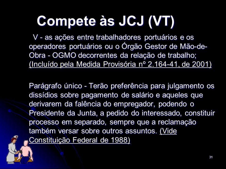31 Compete às JCJ (VT) V - as ações entre trabalhadores portuários e os operadores portuários ou o Órgão Gestor de Mão-de- Obra - OGMO decorrentes da