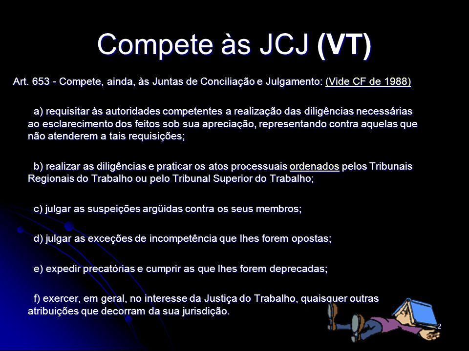 32 Compete às JCJ (VT) Art. 653 - Compete, ainda, às Juntas de Conciliação e Julgamento: (Vide CF de 1988) Art. 653 - Compete, ainda, às Juntas de Con