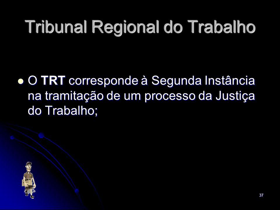 37 Tribunal Regional do Trabalho O TRT corresponde à Segunda Instância na tramitação de um processo da Justiça do Trabalho; O TRT corresponde à Segund