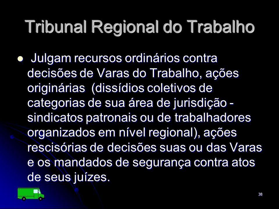 38 Tribunal Regional do Trabalho Julgam recursos ordinários contra decisões de Varas do Trabalho, ações originárias (dissídios coletivos de categorias