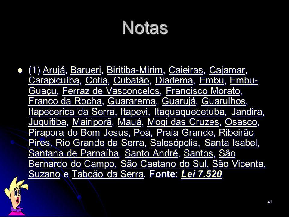 41 Notas (1) Arujá, Barueri, Biritiba-Mirim, Caieiras, Cajamar, Carapicuíba, Cotia, Cubatão, Diadema, Embu, Embu- Guaçu, Ferraz de Vasconcelos, Franci