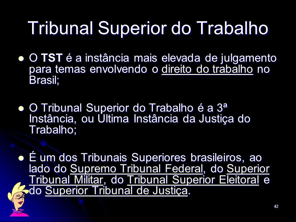 42 O TST é a instância mais elevada de julgamento para temas envolvendo o direito do trabalho no Brasil; O TST é a instância mais elevada de julgament