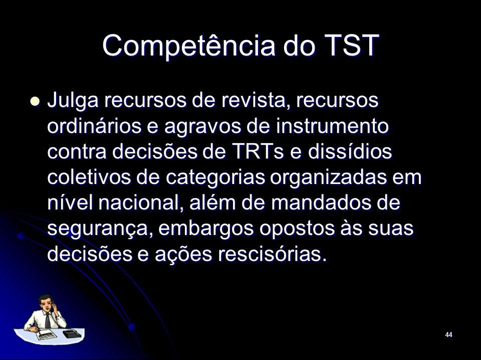 44 Competência do TST Julga recursos de revista, recursos ordinários e agravos de instrumento contra decisões de TRTs e dissídios coletivos de categor