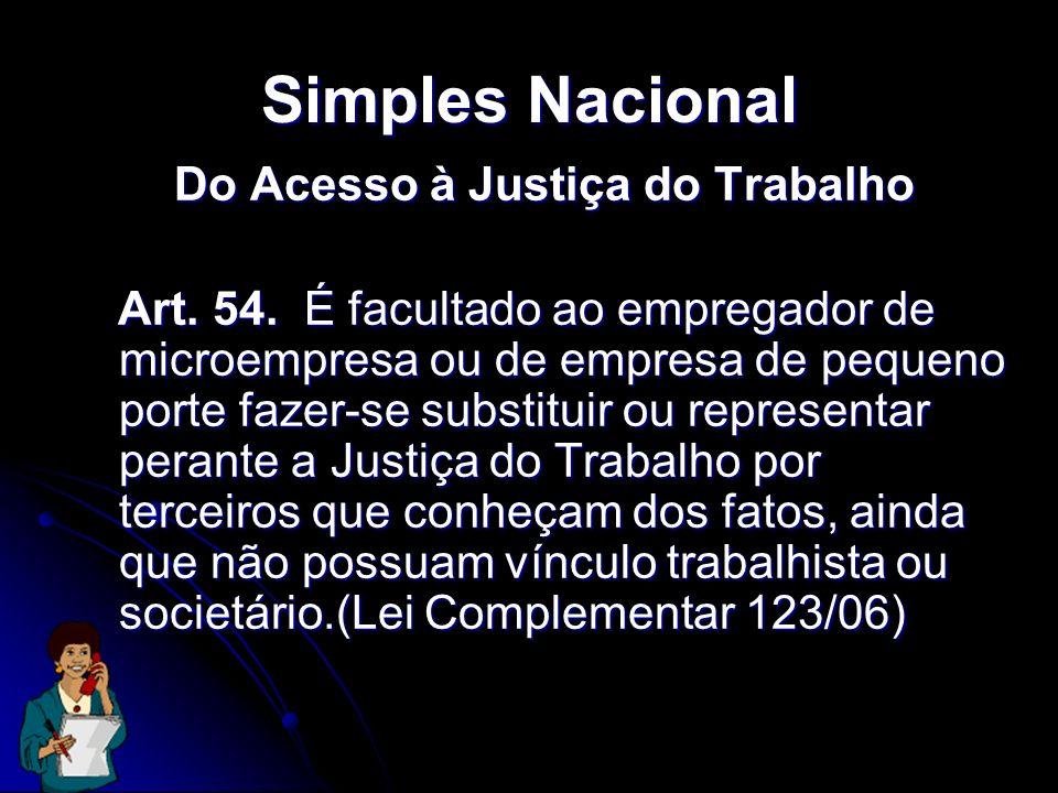 Simples Nacional Do Acesso à Justiça do Trabalho Art. 54. É facultado ao empregador de microempresa ou de empresa de pequeno porte fazer-se substituir