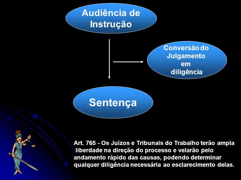 Audiência de Instrução Sentença Conversão do Julgamento em diligência Art. 765 - Os Juízos e Tribunais do Trabalho terão ampla liberdade na direção do