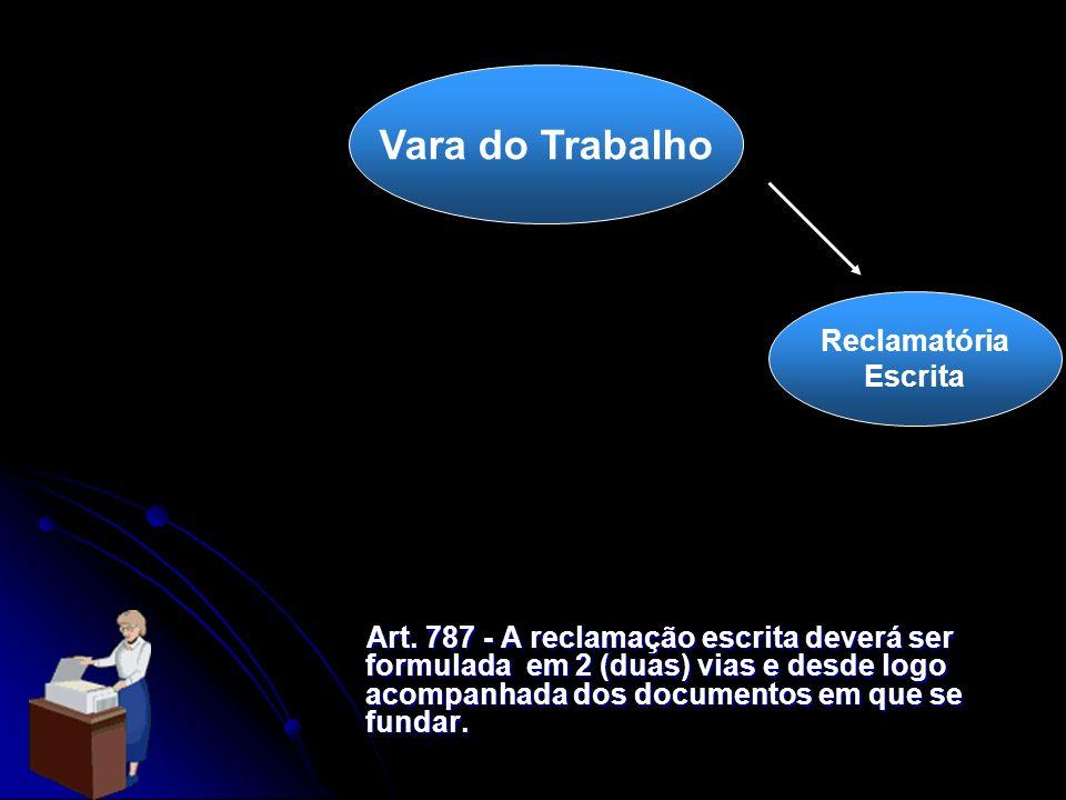 Vara do Trabalho Reclamatória Escrita Art. 787 - A reclamação escrita deverá ser formulada em 2 (duas) vias e desde logo acompanhada dos documentos em