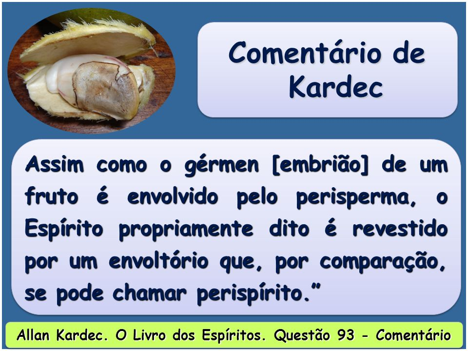 Assim como o gérmen [embrião] de um fruto é envolvido pelo perisperma, o Espírito propriamente dito é revestido por um envoltório que, por comparação, se pode chamar perispírito.