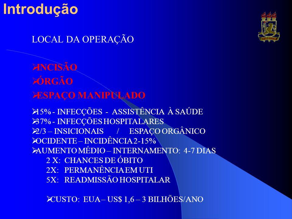 Introdução LOCAL DA OPERAÇÃO INCISÃO ÓRGÃO ESPAÇO MANIPULADO 15% - INFECÇÕES - ASSISTÊNCIA À SAÚDE 37% - INFECÇÕES HOSPITALARES 2/3 – INSICIONAIS / ES