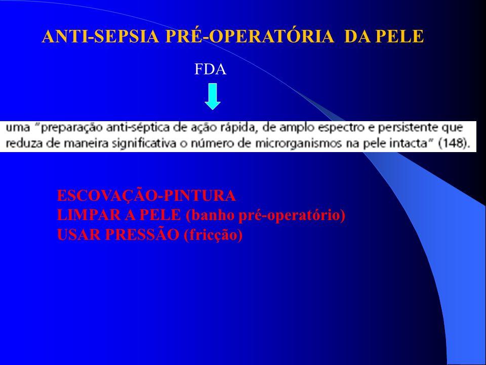ANTI-SEPSIA PRÉ-OPERATÓRIA DA PELE FDA ESCOVAÇÃO-PINTURA LIMPAR A PELE (banho pré-operatório) USAR PRESSÃO (fricção)