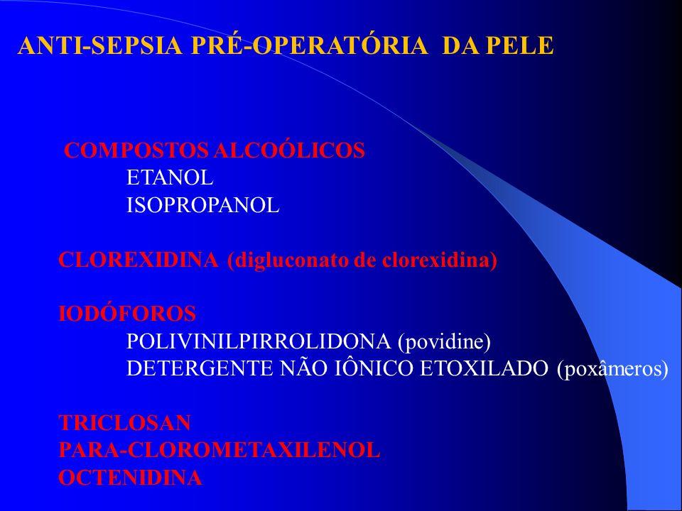 ANTI-SEPSIA PRÉ-OPERATÓRIA DA PELE COMPOSTOS ALCOÓLICOS ETANOL ISOPROPANOL CLOREXIDINA (digluconato de clorexidina) IODÓFOROS POLIVINILPIRROLIDONA (po