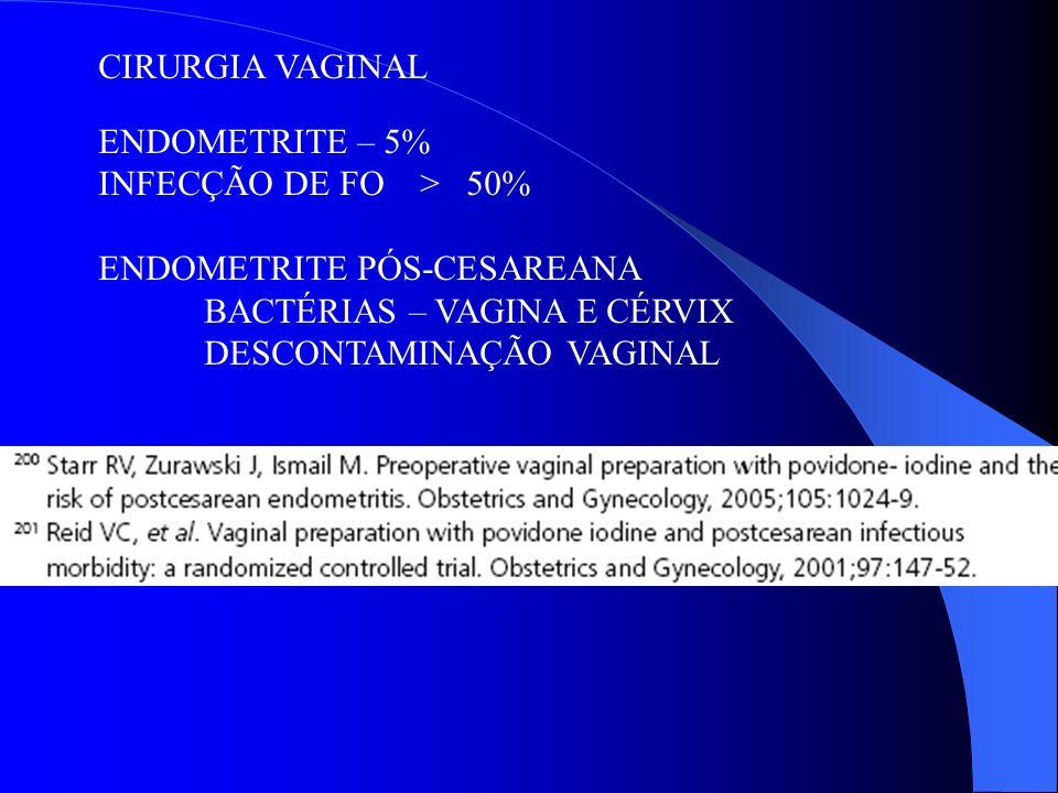 CIRURGIA VAGINAL ENDOMETRITE – 5% INFECÇÃO DE FO > 50% ENDOMETRITE PÓS-CESAREANA BACTÉRIAS – VAGINA E CÉRVIX DESCONTAMINAÇÃO VAGINAL