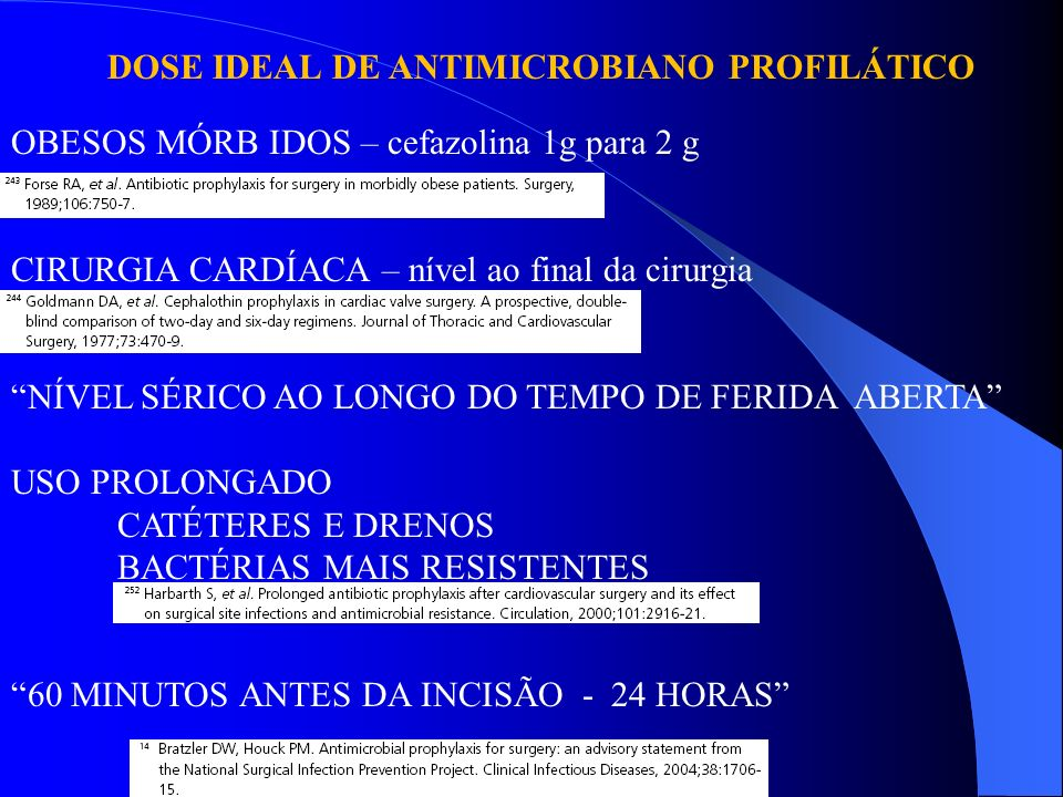 DOSE IDEAL DE ANTIMICROBIANO PROFILÁTICO OBESOS MÓRB IDOS – cefazolina 1g para 2 g CIRURGIA CARDÍACA – nível ao final da cirurgia NÍVEL SÉRICO AO LONG