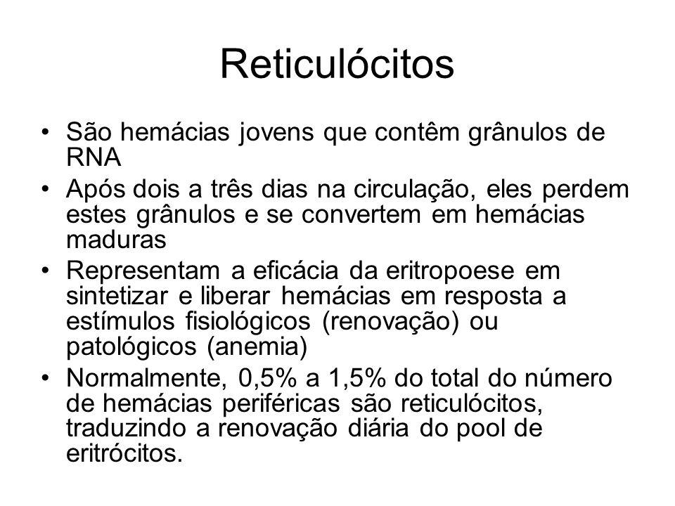 Reticulócitos São hemácias jovens que contêm grânulos de RNA Após dois a três dias na circulação, eles perdem estes grânulos e se convertem em hemácia