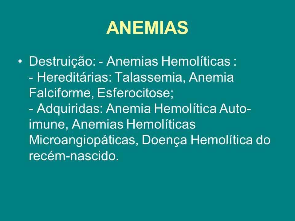 ANEMIAS Destruição: - Anemias Hemolíticas : - Hereditárias: Talassemia, Anemia Falciforme, Esferocitose; - Adquiridas: Anemia Hemolítica Auto- imune,