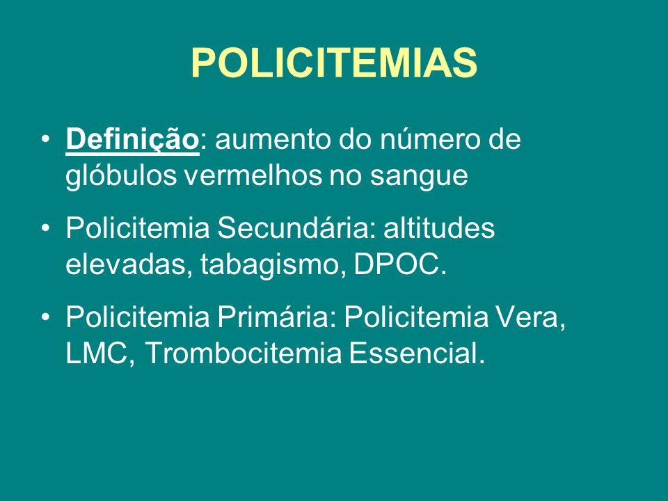 POLICITEMIAS Definição: aumento do número de glóbulos vermelhos no sangue Policitemia Secundária: altitudes elevadas, tabagismo, DPOC. Policitemia Pri