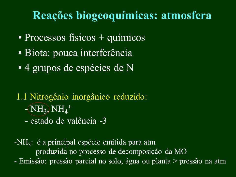 Reações biogeoquímicas: atmosfera 1.1 Nitrogênio inorgânico reduzido: - NH 3, NH 4 + - estado de valência -3 Processos físicos + químicos Biota: pouca