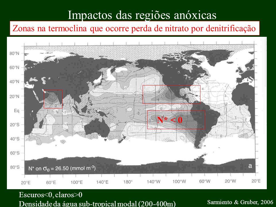 Sarmiento & Gruber, 2006 Escuros 0 Densidade da água sub-tropical modal (200-400m) Zonas na termoclina que ocorre perda de nitrato por denitrificação