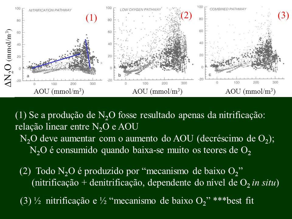 AOU (mmol/m 3 ) AOU (mmol/m 3 ) AOU (mmol/m 3 ) N 2 O (mmol/m 3 ) (1) Se a produção de N 2 O fosse resultado apenas da nitrificação: relação linear en