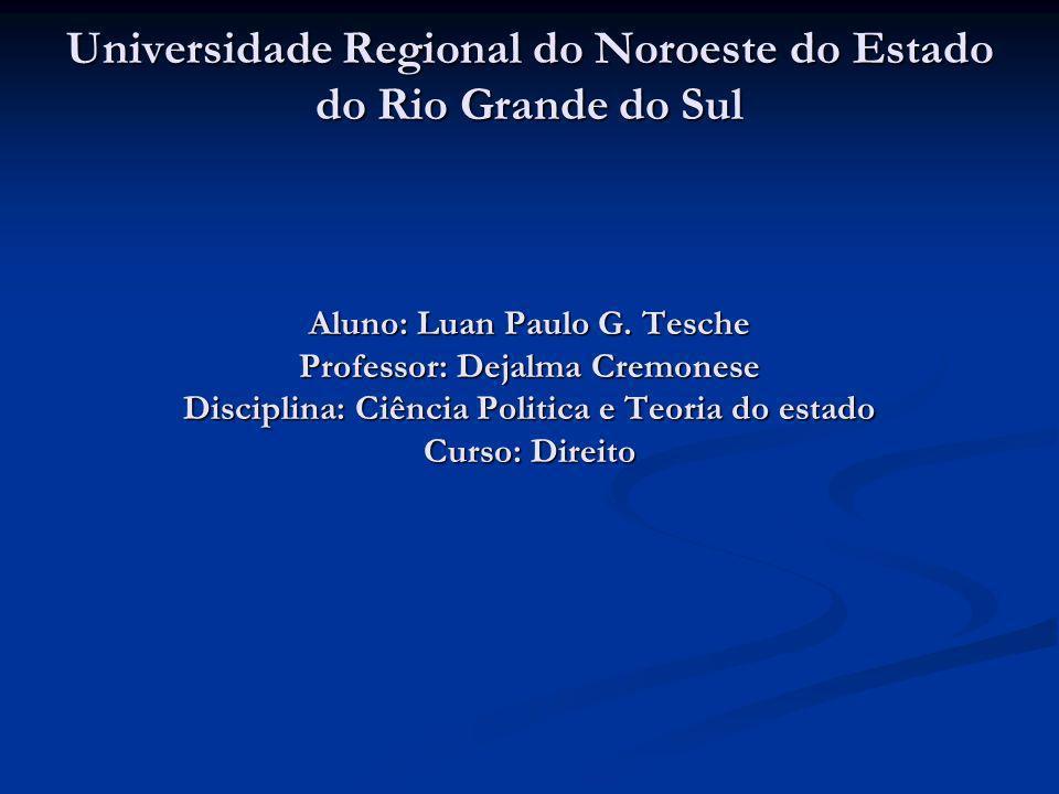 Universidade Regional do Noroeste do Estado do Rio Grande do Sul Aluno: Luan Paulo G. Tesche Professor: Dejalma Cremonese Disciplina: Ciência Politica