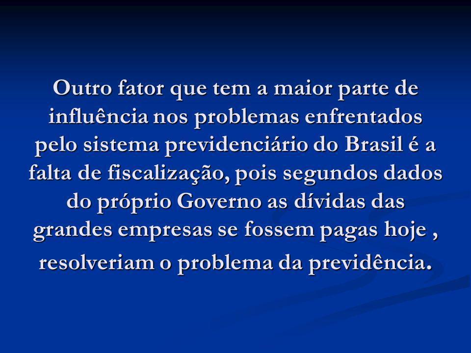 Outro fator que tem a maior parte de influência nos problemas enfrentados pelo sistema previdenciário do Brasil é a falta de fiscalização, pois segund