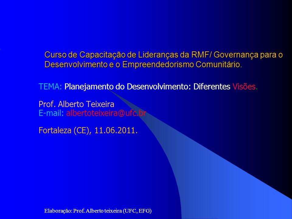 Elaboração: Prof. Alberto teixeira (UFC, EFG) Universidade Federal do Ceará (UFC) Pró-Reitoria de Extensão Escola de Formação de Governantes Curso de