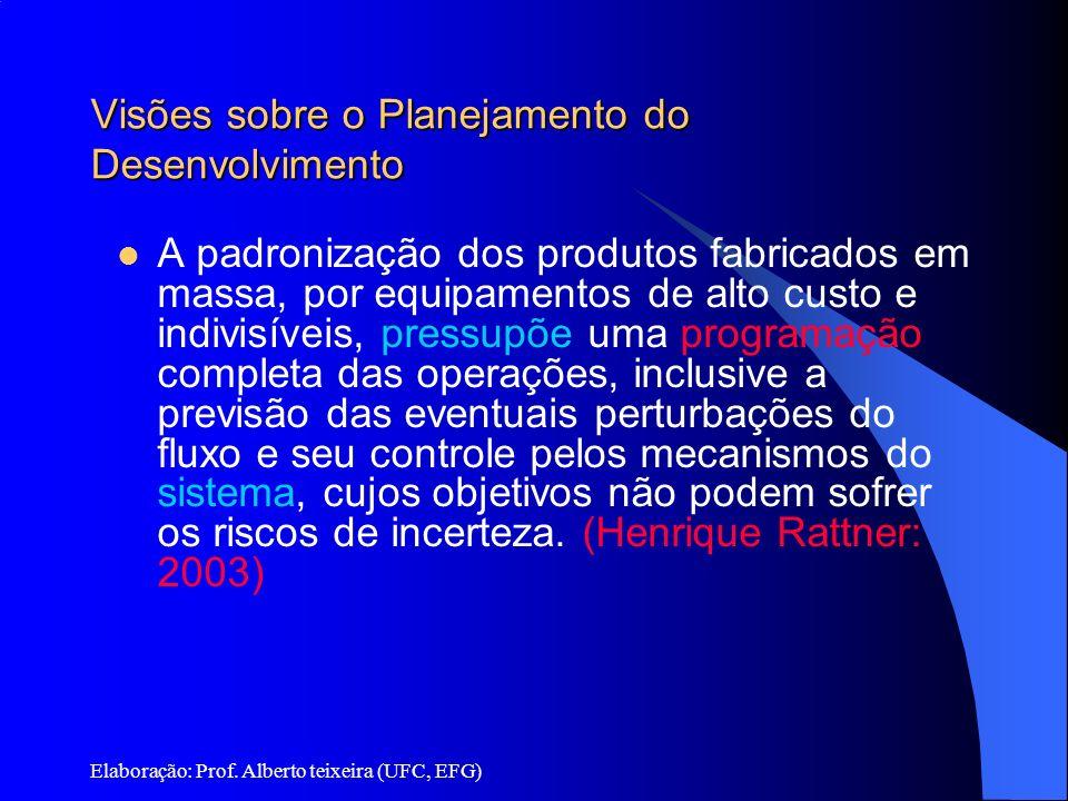 Elaboração: Prof. Alberto teixeira (UFC, EFG) Visões sobre o Planejamento do Desenvolvimento A padronização dos produtos fabricados em massa, por equi