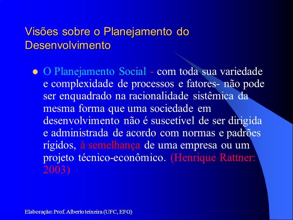 Elaboração: Prof. Alberto teixeira (UFC, EFG) Visões sobre o Planejamento do Desenvolvimento O Planejamento Social - com toda sua variedade e complexi